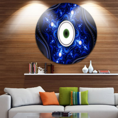 Design Art Exotic Blue Pattern with Circles Abstract Round Circle Metal Wall Art