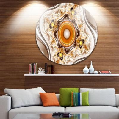 Design Art Fractal Circles and Wavy Curves Abstract Round Circle Metal Wall Art