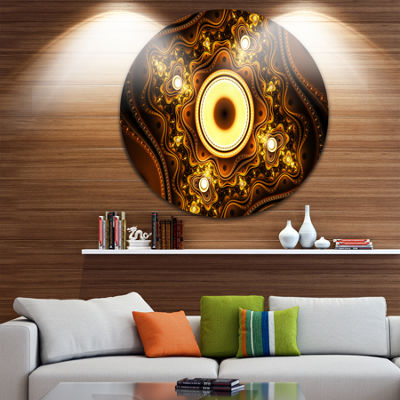 Design Art Brown Fractal Pattern with Circles Abstract Round Circle Metal Wall Art