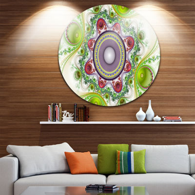 Design Art Light Green Pattern with Circles Abstract Round Circle Metal Wall Art