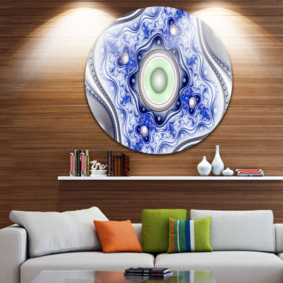 Design Art Blue on White Pattern with Circles Abstract Round Circle Metal Wall Art