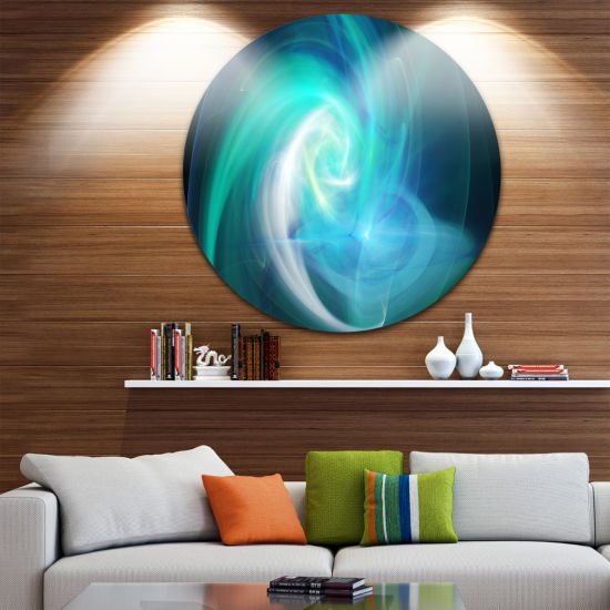 Design Art Blue Fractal Abstract Illustration Abstract Round Circle Metal Wall Art