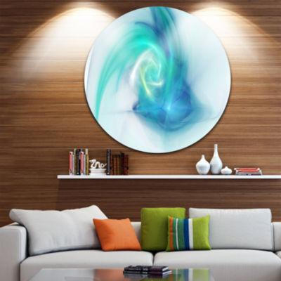 Design Art Light Blue Fractal Abstract Texture Abstract Round Circle Metal Wall Art