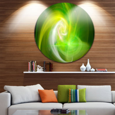 Design Art Green Fractal Abstract Illustration Abstract Round Circle Metal Wall Art