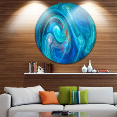 Design Art Dark Blue Fractal Abstract Texture Abstract Round Circle Metal Wall Art