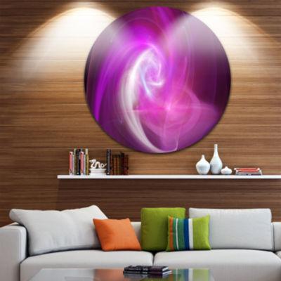Design Art Pink Fractal Abstract Illustration Abstract Round Circle Metal Wall Art