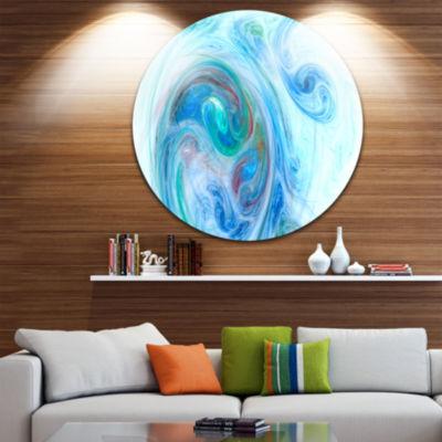 Design Art Light Blue Fractal Illustration Abstract Round Circle Metal Wall Art