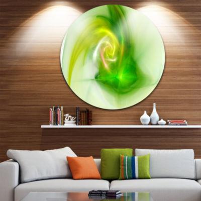 Design Art Bright Green Fractal Illustration Abstract Round Circle Metal Wall Art