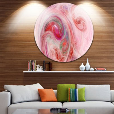 Design Art Red Fractal Abstract Illustration Abstract Round Circle Metal Wall Art