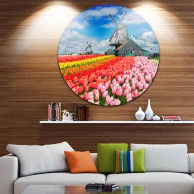 Design Art Dutch Windmills and Garden Abstract Round Circle Metal Wall Art