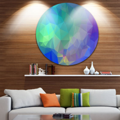 Design Art Light Blue Polygonal Mosaic Pattern Abstract Round Circle Metal Wall Art