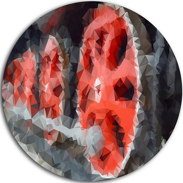 Design Art Red Wheels of Old Steam Train AbstractRound Circle Metal Wall Art