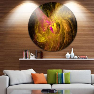 Design Art Golden Fractal Abstract Illustration Abstract Round Circle Metal Wall Art