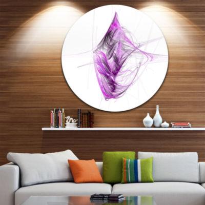 Design Art Purple on White Fractal Illustration Abstract Round Circle Metal Wall Art