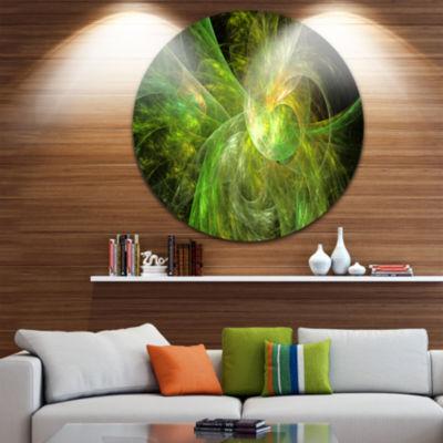 Design Art Green on Black Fractal Illustration Abstract Round Circle Metal Wall Art