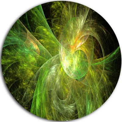 Design Art Green on Black Fractal Illustration Abstract Round Circle Metal Wall Art