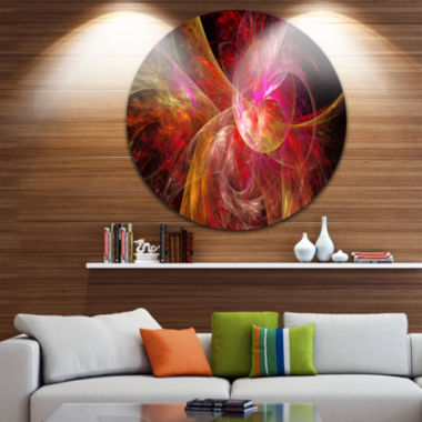 Design Art Pink on Black Fractal Illustration Abstract Round Circle Metal Wall Art
