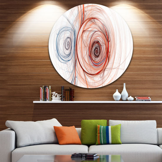 Design Art Brown Blue Fractal Illustration Abstract Round Circle Metal Wall Art