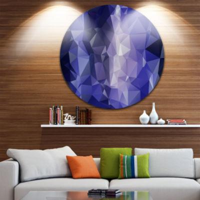 Design Art Blue Polygonal Mosaic Pattern AbstractRound Circle Metal Wall Art