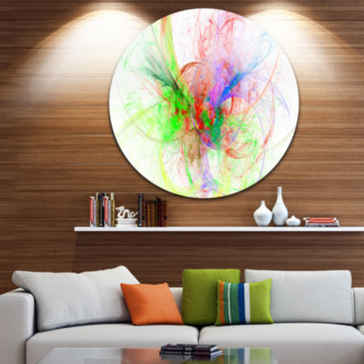 Design Art Multi Color on White Fractal Design Abstract Round Circle Metal Wall Art