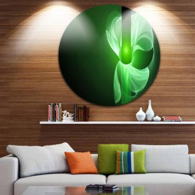 Design Art Green Flower Fractal Illustration Abstract Round Circle Metal Wall Art
