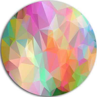 Design Art Multi Color Polygonal Mosaic Pattern Abstract Round Circle Metal Wall Art