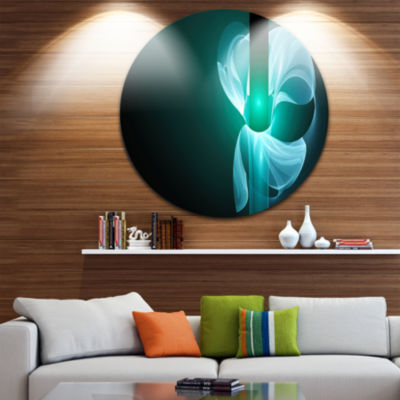 Design Art Blue Flower Fractal Illustration Abstract Round Circle Metal Wall Art