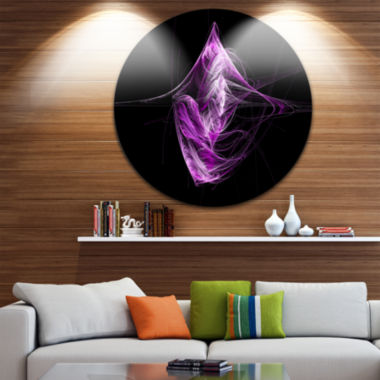 Design Art Purple on Black Fractal Illustration Abstract Round Circle Metal Wall Art