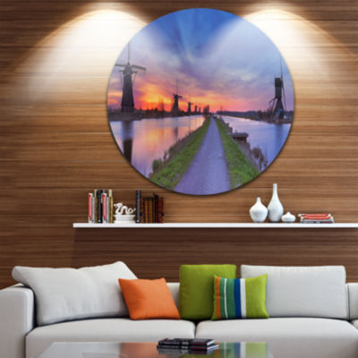 Design Art Windmills Morning Panorama Abstract Round Circle Metal Wall Art