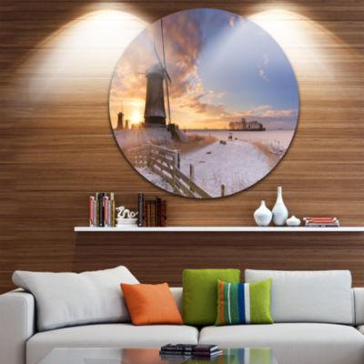 Design Art Dutch Windmills at Sunrise Abstract Round Circle Metal Wall Art