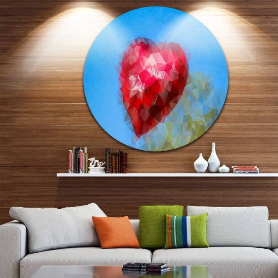 Design Art Polygonal Heart against Blue Sky Abstract Round Circle Metal Wall Art