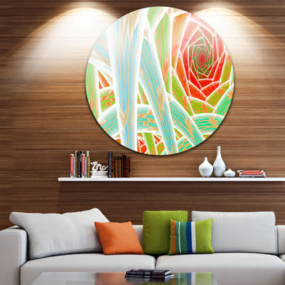 Design Art Red Fractal Endless Tunnel Abstract Round Circle Metal Wall Art