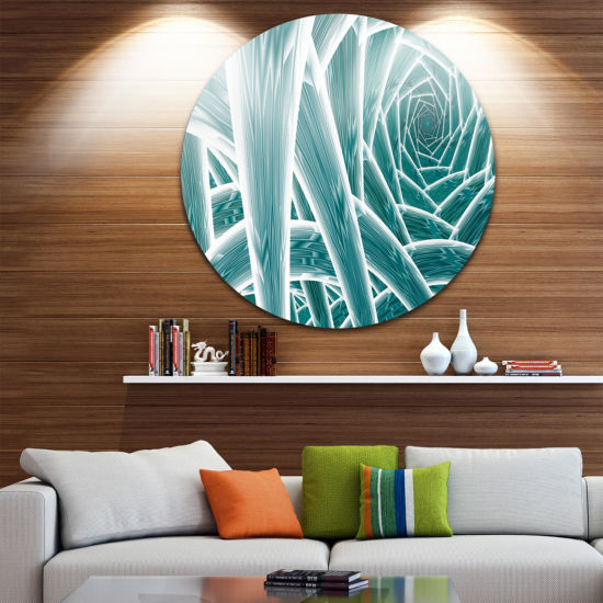 Design Art Blue Fractal Endless Tunnel Abstract Round Circle Metal Wall Art