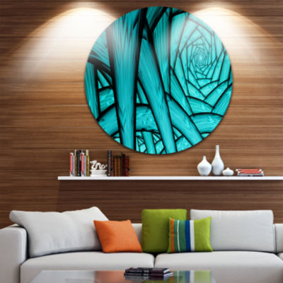 Design Art Turquoise Fractal Endless Tunnel Abstract Round Circle Metal Wall Art