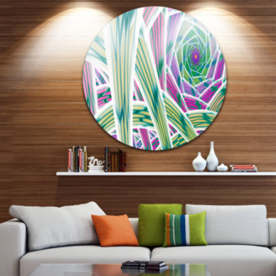 Design Art Purple Fractal Endless Tunnel AbstractRound Circle Metal Wall Art