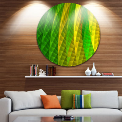 Design Art Layered Green Psychedelic Design Abstract Round Circle Metal Wall Art