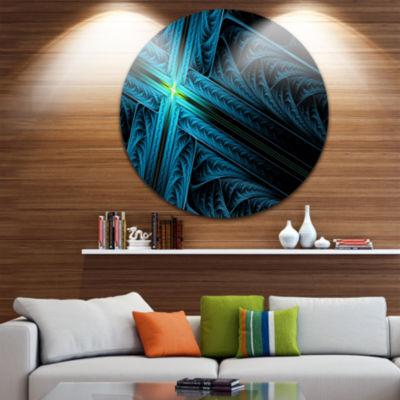 Design Art Turquoise Fractal Cross Design AbstractRound Circle Metal Wall Art