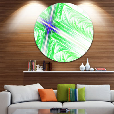 Design Art Bright Green Fractal Cross Design Abstract Round Circle Metal Wall Art