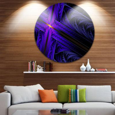 Design Art Bright Blue Fractal Cross Design Abstract Round Circle Metal Wall Art