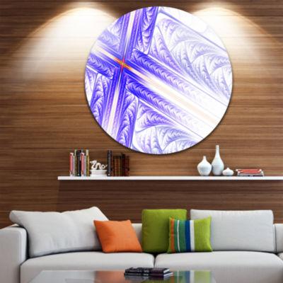 Design Art Blue Fractal Cross Design Abstract Round Circle Metal Wall Art