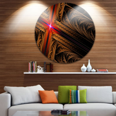Design Art Golden Fractal Cross Design Abstract Round Circle Metal Wall Art