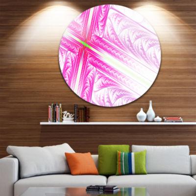 Design Art Pink Fractal Cross Design Abstract Round Circle Metal Wall Art