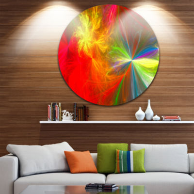 Design Art Colorful Christmas Spectacular Show Abstract Round Circle Metal Wall Art