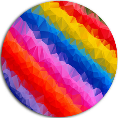 Design Art Multi Color Polygonal Pencils AbstractRound Circle Metal Wall Art