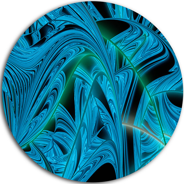 Design Art Blue Winter Fractal Pattern Abstract Art on Round Circle Metal Wall Art Panel