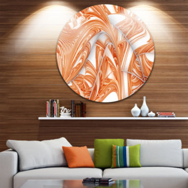 Design Art Brown Winter Fractal Pattern Abstract Art on Round Circle Metal Wall Art Panel
