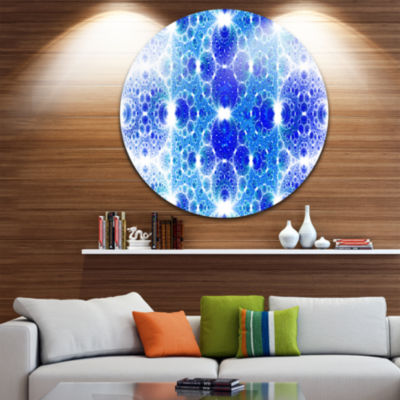 Design Art Exotic Blue Fractal Crescent Pattern Abstract Art on Round Circle Metal Wall Art Panel