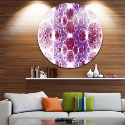 Design Art Exotic Pink Fractal Crescent Pattern Abstract Art on Round Circle Metal Wall Art Panel