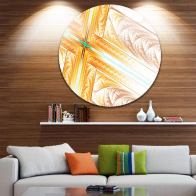 Design Art Brown Fractal Cross Design Abstract Arton Round Circle Metal Wall Art Panel
