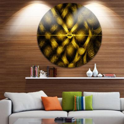 Design Art Golden Fractal Watercolor Pattern Abstract Art on Round Circle Metal Wall Art Panel